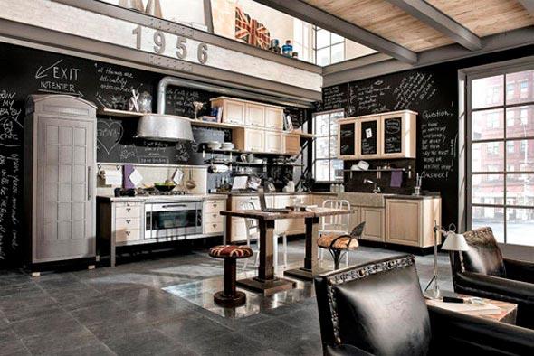 cocina americana vintage con paredes con pintura de pizarra negra